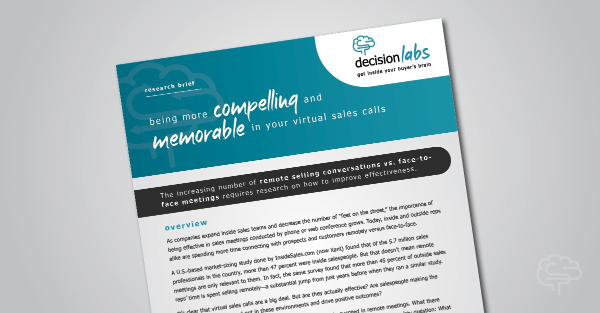 Research Brief: Improving Value Communication on Sales Calls