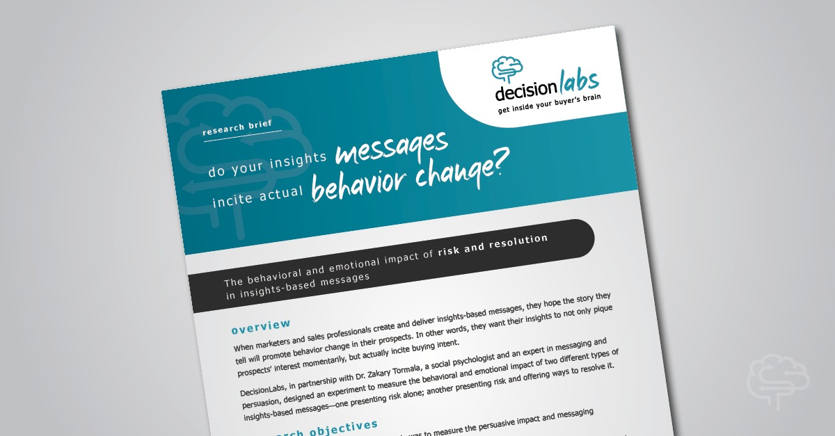 Research Brief: Insights-based selling and the behavioral impact of risk and resolution